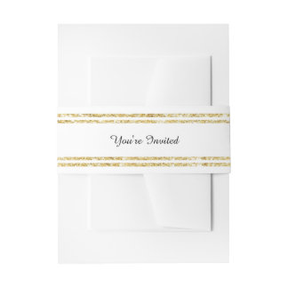Chic Faux Gold Glitter Trim - Belly Band Invitation Belly Band