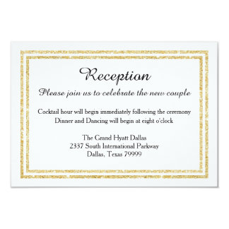 Chic Faux Gold Glitter Trim-Reception Invition 9 Cm X 13 Cm Invitation Card