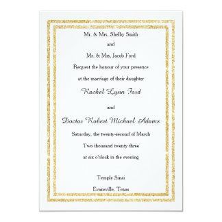 Chic Faux Gold Glittered Trim - 5x7 Wedding Invite