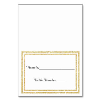 Chic Faux Gold Glittered Trim - Escort Card Table Card