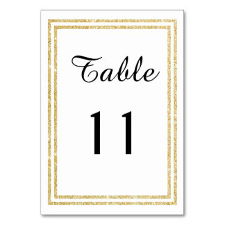 Chic Faux Gold Glittered Trim - Table Card