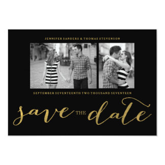 CHIC FAUX GOLD HANDWRITTEN | PHOTO SAVE THE DATE 13 CM X 18 CM INVITATION CARD