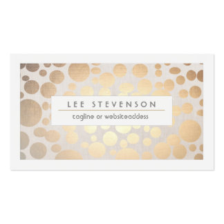 Chic Faux Gold Leaf Circle Pattern Linen Look Business Card Templates