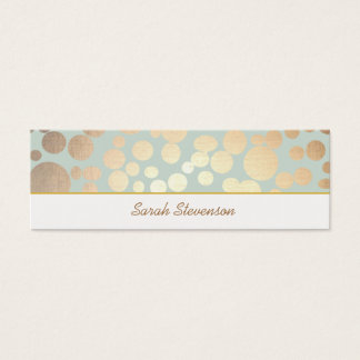 Chic Faux Gold Leaf Circles Light Turquoise Blue Mini Business Card