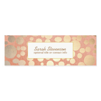 Chic Faux Gold Leaf Circles Pink Linen Look Pack Of Skinny Business Cards