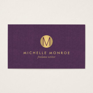 Chic Faux Gold Minimalist Monogram Purple Linen Business Card
