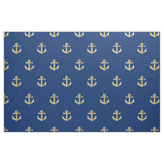Chic Faux Gold Nautical Anchors Pattern Fabric