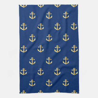 Chic Faux Gold Nautical Anchors Pattern Hand Towels