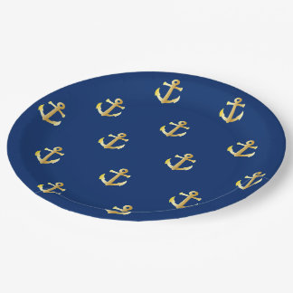 Chic Faux Gold Nautical Anchors Pattern Paper Plate