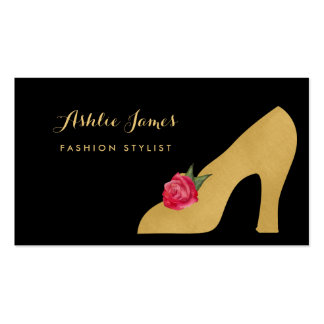 Chic Faux Gold Shoe With Red Rose Fashion Stylist Pack Of Standard Business Cards