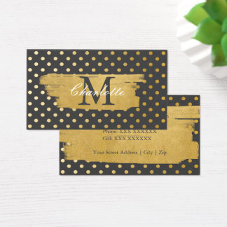 Chic Faux Gold Spots Pattern Monogrammed Business Card