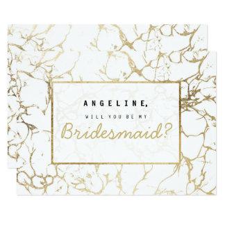 Chic faux gold white modern marble bridesmaid 9 cm x 13 cm invitation card