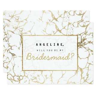 Chic faux gold white modern marble bridesmaid card