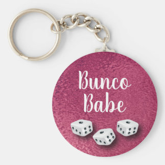 Chic Faux Pink Foil Bunco Dice Key Ring