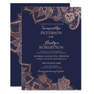 Chic faux rose gold floral lace navy blue wedding card