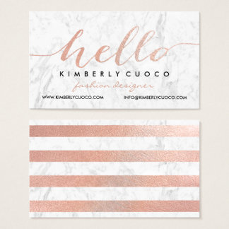 Chic faux rose gold foil hello glam marble stripes business card