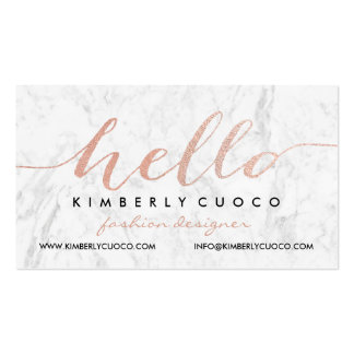 Chic faux rose gold foil hello glam marble stripes pack of standard business cards