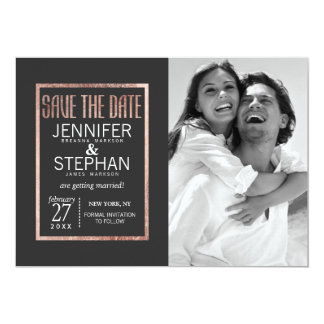 Chic Faux Rose Gold Save the Dates 13 Cm X 18 Cm Invitation Card
