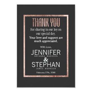 Chic Faux Rose Gold Thank You Cards