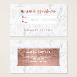 Chic faux rose gold typography marble appointment business card