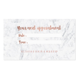 Chic faux rose gold typography marble appointment pack of standard business cards