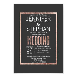 Chic Faux Rose Gold Wedding Invitations