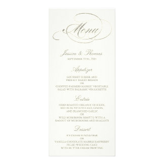 Chic Faux Silver Foil Wedding Menu Template- Ivory Custom Rack Card