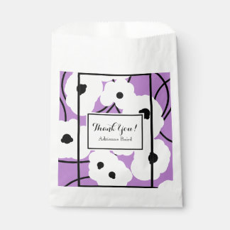 "CHIC FAVOR BAG_""Thank You!"" _WHITE/BLACK POPPIES Favour Bag"