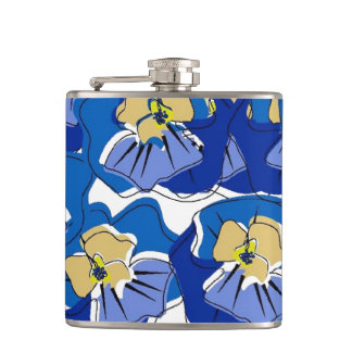 CHIC FLASK_BOLD BLUE PANSIES FLASKS