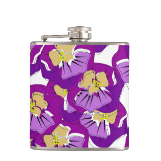 CHIC FLASK_BOLD PURPLE PANSIES HIP FLASK