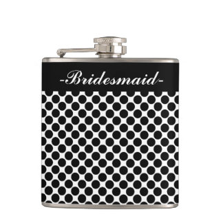 "CHIC FLASK_""Bridesmaid"" BLACK DOTS ON WHITE Hip Flask"