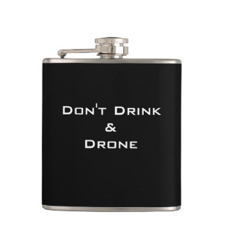 "CHIC FLASK_FUNNY ""DON'T DRINK & DRONE"" HIP FLASK"