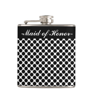 """CHIC FLASK_""""Maid of Honor"""" BLACK DOTS ON WHITE Hip Flask"""