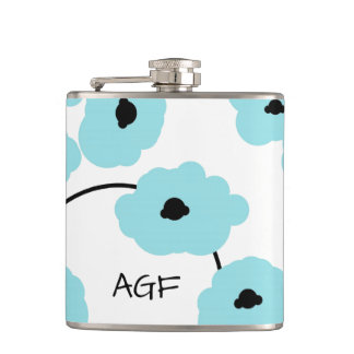 CHIC FLASK_MOD, BOLD AQUA & BLACK POPPIES HIP FLASK