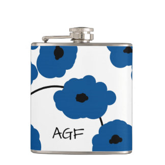 CHIC FLASK_MOD, BOLD LAPIS BLUE AND BLACK POPPIES FLASK