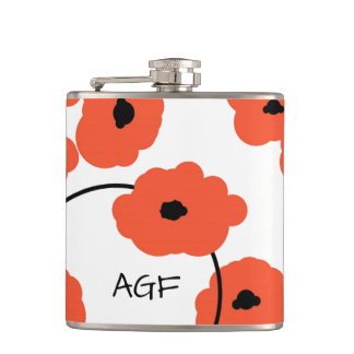 CHIC FLASK_MOD, BOLD ORANG AND BLACK POPPIES HIP FLASK