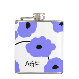 CHIC FLASK_MOD, BOLD PERIWINKLE AND BLACK POPPIES HIP FLASK