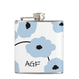CHIC FLASK_MOD, BOLD SOFT BLUE AND BLACK POPPIES HIP FLASK