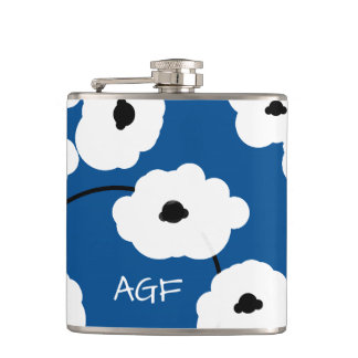 CHIC FLASK_MOD, WHITE AND BLACK POPPIES FLASK