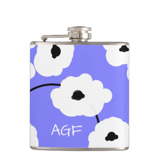 CHIC FLASK_MOD, WHITE AND BLACK POPPIES FLASKS