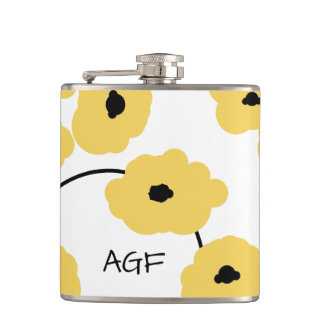 CHIC FLASK_MOD YELLOW & BLACK POPPIES FLASKS