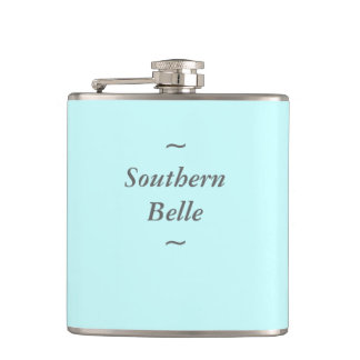 """CHIC FLASK_""""Southern Belle"""" GRAY ON AQUA Hip Flask"""