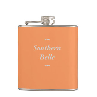 """CHIC FLASK_""""Southern Belle"""" GRAY ON TANGERINE Hip Flasks"""