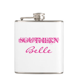 """CHIC FLASK_""""Southern Belle"""" HOT PINK/WHITE Flask"""