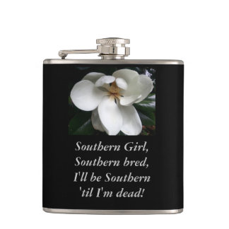 "CHIC FLASK_""Southern Girl...."" TEXT/MAGNOLIA Hip Flasks"