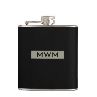 CHIC FLASK_TAUPE TAG WITH MONOGRAM ON BLACK FLASKS