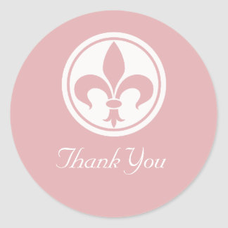 Chic Fleur De Lis Thank You Stickers, Pink Classic Round Sticker