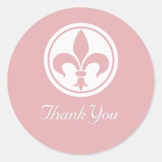 Chic Fleur De Lis Thank You Stickers, Pink Round Sticker