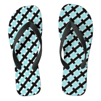 CHIC FLIP FLOPS_AQUA/BLACK /WHITE WEAVE THONGS