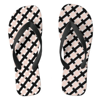CHIC FLIP FLOPS_PINK/BLACK /WHITE WEAVE THONGS